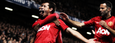 Hernandez, Young and Giggs celebrate a goal