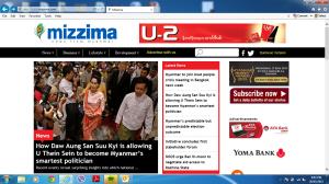 Mizzima front page